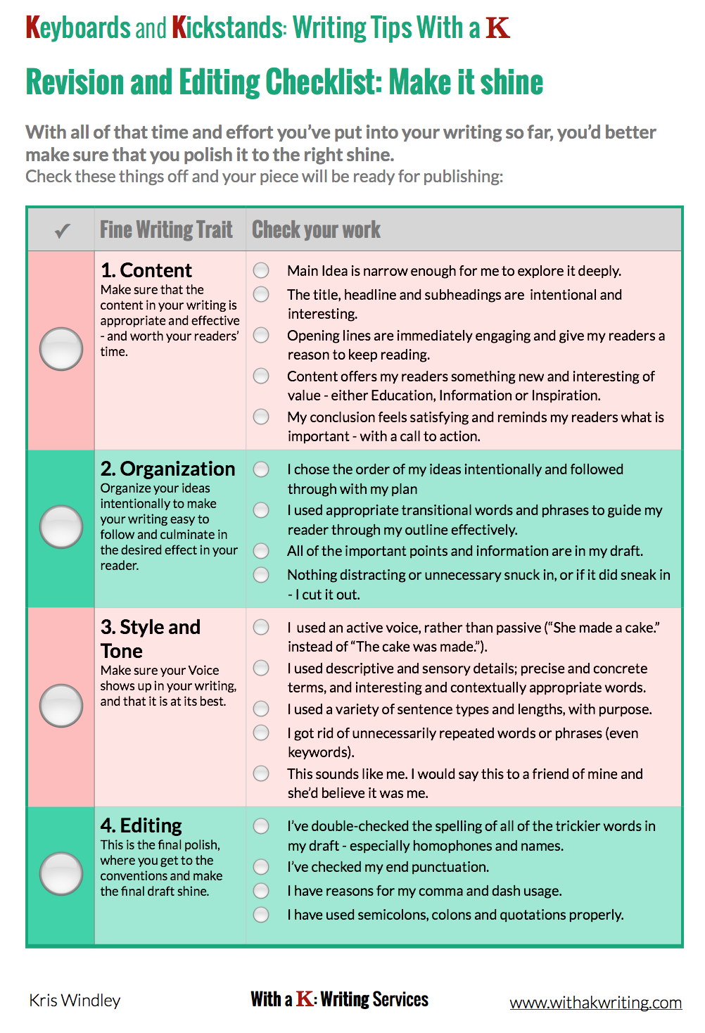 editing and revising writing checklist Many writers find that an editing checklist is useful when correcting their own  work an edit  all first drafts need one or two revisions, at the very least you can .