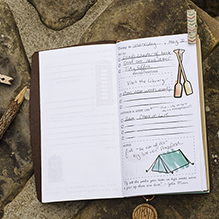 This photo shows a page of a planner Sarah designed to help women to find time for adventures in their lives .