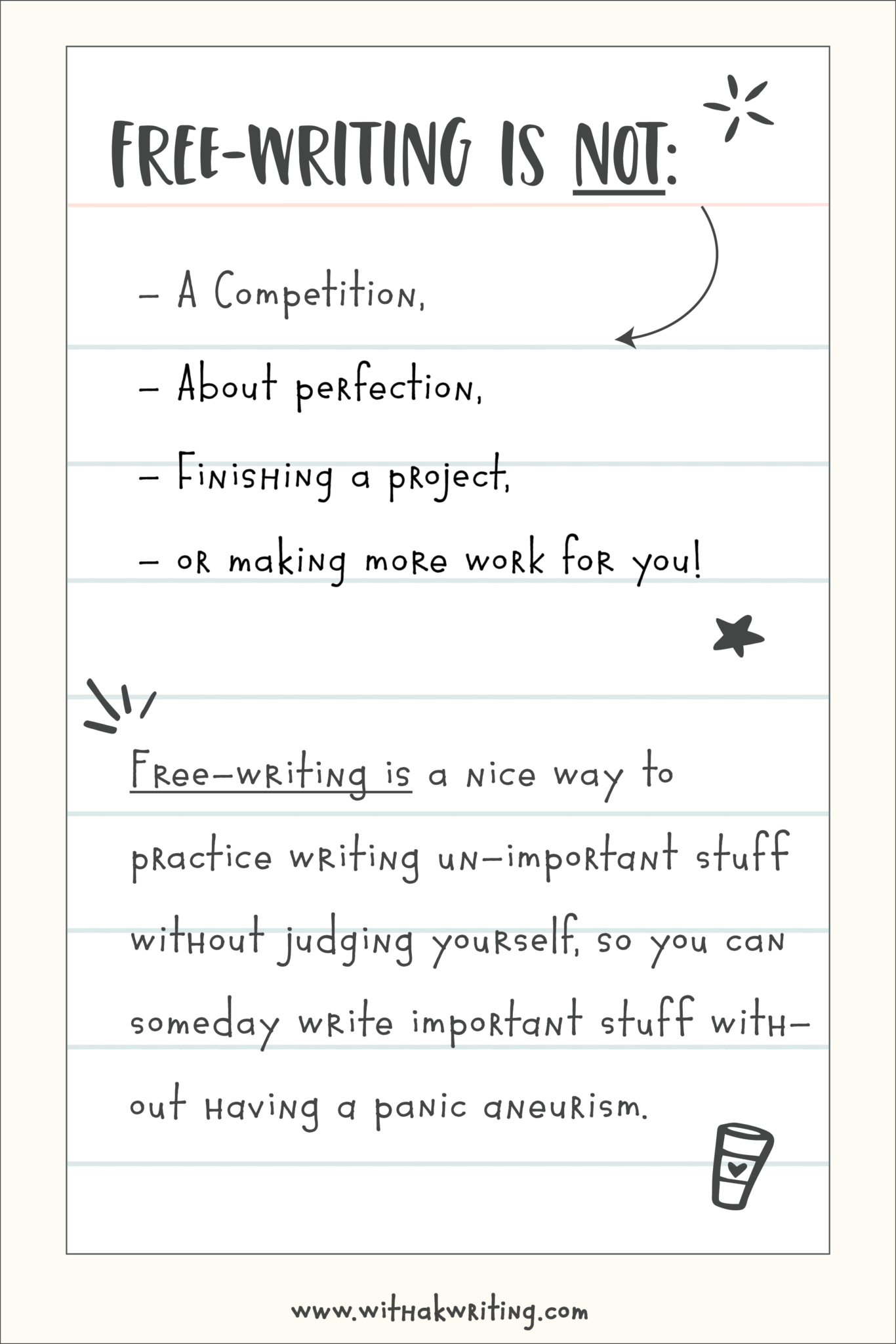 Free-writing is an effective way to practice writing un-important stuff without judging yourself, so you can write important stuff without having an aneurism from stress.   Join the #30DaysWithaK challenge for free to start today.